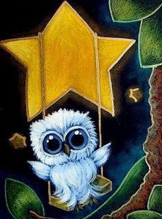 Art: TINY BABY BLUE OWL SWINGING ON A STAR by Artist Cyra R. Cancel