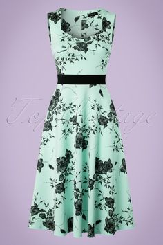 0d9e861e48bf16 Exclusive ~ 50s Veronique Floral Swing Dress in Mint. Blote JurkWitte ...