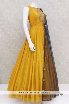 Pure Georgette Light Mustard Indian Designer Outfit With Appealing Work Indian Fashion Dresses, Frock Fashion, Indian Gowns Dresses, Indian Designer Outfits, Indian Outfits, Flapper Dresses, Fashion Sale, Big Fashion, Fashion Outfits