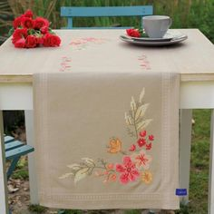 Pink Flowers Table Runner - Stamped Cross Stitch Kit