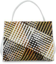 Nancy Gonzalez Wallis Woven-Front Framed Crocodile Tote Bag, Yellow/White on shopstyle.com--$3795