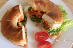 Roasted Red Pepper Hummus, Lettuce and Tomato on a Toasted Bagel: Quick Win Wednesday