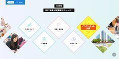【入試ナビ/大阪経済法科大学】ボタンが大きい/項目少ない/アイコン/菱形/青・水色・カラフル/項目少ない/わかりやすい/ボタン外の左右は写真/