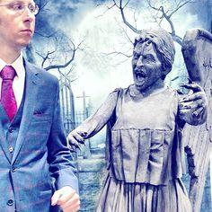 Don't blink 🗡 #drwho  #awsomecondc  #angel  #art #statue  #doctorwho  #bbc  #blue #cemetery  #red #ootd  #style  #selfie  #fashion  #suit  #travelgram  #travel  #dc #fun #styles  #gentleman  #tv #gdfalksen  #glasses