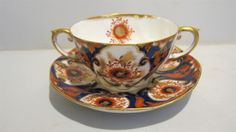John Aynsley Double Cream Soup Bowl / Cup and Saucer Gaudy Dutch Style Pattern | eBay
