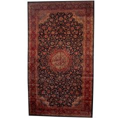Herat Oriental Persian Hand-knotted 1960s Semi-antique Mahal Navy/ Salmon Rug