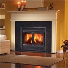 Fireplace - with a hearth.  Want to hang stockings.  Round mirror on wall above it!