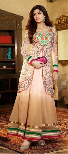 411745: #GetThisLook - #ShilpaShetty in layered anarkali. #Bollywood #beige #ethnic #festivewear