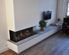 Kal-fire Fairo- ECO-line 120 Jos Harm - Lysanne Pieper - ecoline Living Room Decor Fireplace, Fireplace Tv Wall, Modern Fireplace, Fireplace Design, Home Living Room, Living Room Designs, Fireplace Ideas, Home Decor Furniture, Home Interior Design