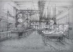 'The John Dory Oyster Bar' at the Ace Hotel by Roman and Williams - I absolutely love their sketching and the capture of theatre and atmosphere within a space