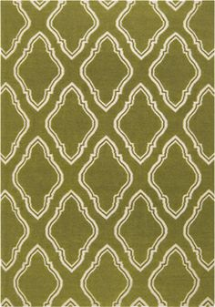 Olive Green Wool Rug With Cream Pattern