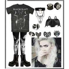 A fashion look from September 2014 featuring platform boots, bat backpack and steel earrings. Browse and shop related looks.