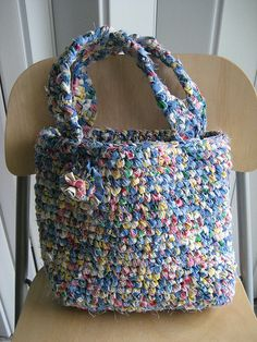 Crochet Rag Tote. Bag crocheted with fabric cut into thin strips. Looks cute and unusual.