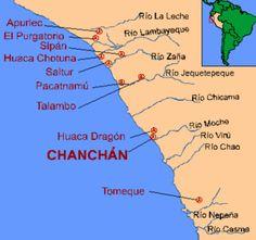 La cultura Chimu, tuvo su centro en el valle de Moche o Chimor y como capital a la ciudad de Chan Chan. Pero mediante sus conquistas llegaron a dominar desde Tumbes por el norte hasta Pativilca por el Sur. Esta cultura tuvo una duración  de cerca de 3 siglos, pues se calcula que habiendo florecido por el año 1200 d.C. duró hasta 1470 en que fue conquistada por los incas.