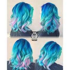 Beautiful blue hair color, turquoise hair color and pink hair color by Rickey…