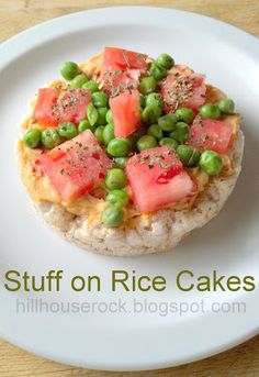 Stuff on Rice Cakes! This chick has lots of ideas for low calories, gluten-free, fun snacks using rice cakes!