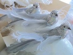 Set 3 Hamptons Silver Sequin Feather Birds Christmas Decorations Ornaments New