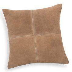 Coussin en cuir beige 40 x 40 cm HOLSTEIN