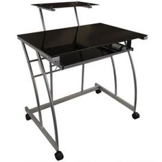 Tesco direct: Onyx - Metal + Glass Office Desk With Storage - Black / Silver
