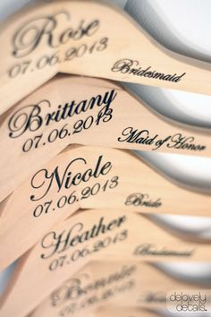 Personalized Wedding Dress Hanger with Wedding Party Title Arm Inscription - Engraved Wood via Etsy