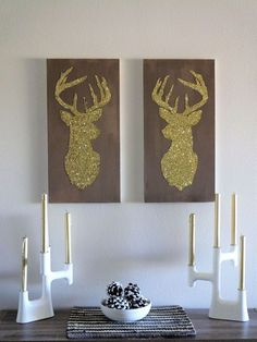 DIY Gliltter Deer Silhouettes || http://theviewfromhere.is
