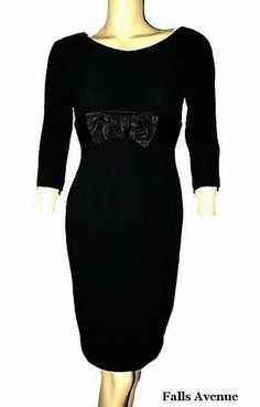 On Ruby Lane - 1960s Vintage Pencil or Wiggle Dress Black with Satin Bow Klever Klad Label Size Small, $85