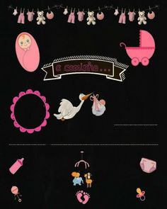 Baby Shower Niño, Girl Shower, Molduras Vintage, Invitation Templates, Cute Wallpapers, Baby Shower Invitations, Chalkboard, Diy And Crafts, Party