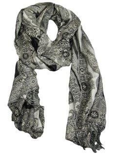 Collection XIIX Women's Black & Gray Paisley Wrap Scarf Black And Grey, Gray, Scarf Wrap, Fashion Brands, Paisley, Topshop, Stuff To Buy, Clothes, Shopping