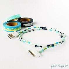 20 Creative Washi Tape Ideas - decorate cords! Will this stop my cats from chewing on the cords?!?
