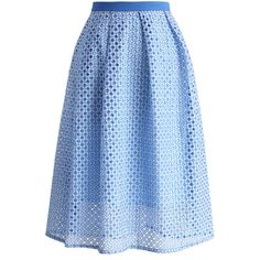 Meadow of Joy Midi Skirt in Indigo Blue ($42) ❤ liked on Polyvore