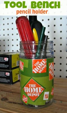 father's day tool bench pencil holder...I would like to make his Kubota instead of Home Depot.