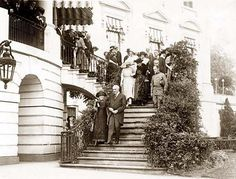 President Warren G. Harding escorting Madame Curie down steps to south grounds of the White House. Taken between 1921 and Us History, Women In History, American History, History Photos, American Women, Presidents Wives, American Presidents, Warren Harding, Warren G