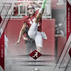 JK Scott named Special Teams Player of the Week versus Western Kentucky. #RollTide