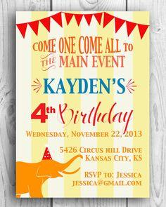 Children's Printable Circus Birthday Party Invitation