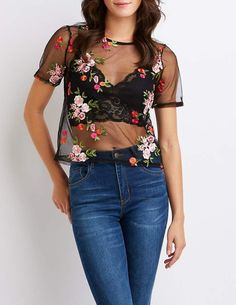 Charlotte Russe Floral Embroidered Mesh Tee Affiliate link #meshtop #fashion #style #casual #floral