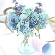 This Dusty Blue Silk Rose Flower Arrangement makes a beautiful table setting or wedding flowers. Rose Wedding Bouquet, Blue Wedding Flowers, Bridesmaid Flowers, Fake Flowers, Rose Bouquet, Artificial Flowers, Floral Wedding, Holding Flowers, Wedding Blue