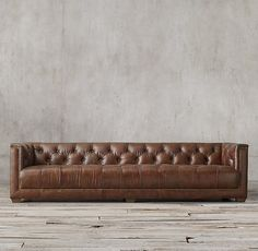 Savoy Leather Sofa. Restoration Hardware. More modern...similar to West Elm pin... very low profile.
