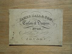 Antique business card shrawley tailor draper city london details about antique business card james hall tailors drapers london holborn 19thc reheart Image collections