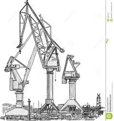 harbour crane old industrial drawing - Recherche Google