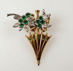 Vintage Gold White Tone Green Clear Paste Rhinestone Parasol Umbrella Pin Brooch