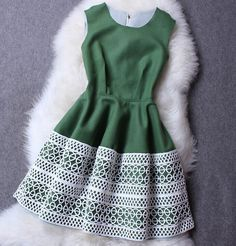Openwork embroidery dress