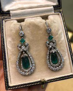 Heart Jewelry, High Jewelry, Luxury Jewelry, Stone Jewelry, Jewellery, Edwardian Jewelry, Antique Jewelry, Vintage Jewelry, Emerald Earrings