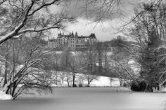 Postcard scene of Biltmore House in the snow