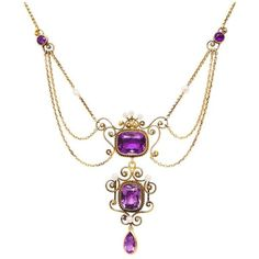 Preowned Edwardian Amethyst Pearl Yellow Gold Festoon Necklace ($2,495) ❤ liked on Polyvore featuring jewelry, necklaces, drop necklaces, yellow, 14 karat gold necklace, amethyst necklace, white pearl necklace, jewel necklace and pearl necklace