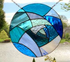 Stained glass window panel blue abstract round stained glass