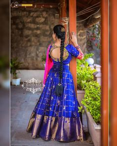 Lite weight pattu blue lehenga with Kanchi style border teamed up with a nice cut work dupatta and cut work work on blouse Here is Madhuras designer studio Subhaprada collection Series of lehengas from Madhuras designer studio Code Subhapra Half Saree Lehenga, Saree Gown, Lehnga Dress, Blue Lehenga, Long Anarkali, Frock Dress, Lehenga Style, Chiffon Saree, Half Saree Designs