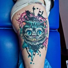 Cheshire Cat watercolor tattoo by Jay Van Gerven. #watercolor #JayVanGerven… (Bottle Sketch Alice In Wonderland)