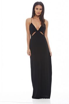 AX Paris Womens Black Slinky Cut Out Maxi Dress Stylish Glam Ladies Clothing