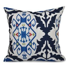 """Bungalow Rose Oliver Bombay Medallion Geometric Print Throw Pillow Size: 16"""" H x 16"""" W, Color: Navy Blue"""