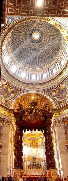 Interior of St Peter Basilica in Vatican City, Rome Lazio